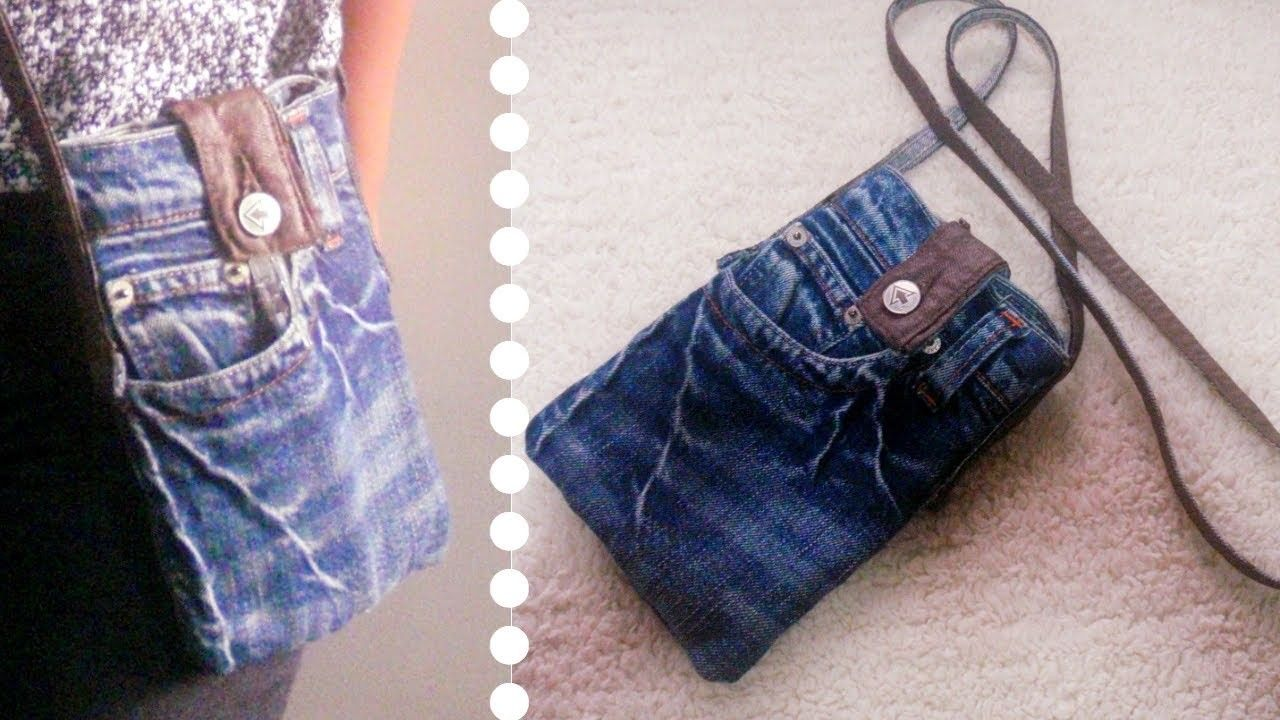 Diy Sling Bag For Phone Out Of Old Jeans Simple Easy Recycled Craft Diy Sling Bag Sling Bag Diy Old Jeans
