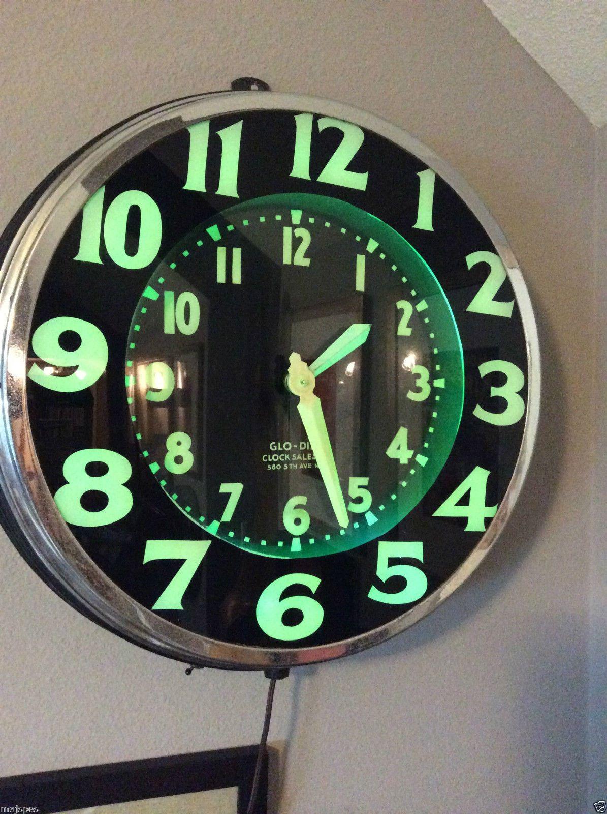 Antique glo dial double neon circular wall wall clock lockheed antique glo dial double neon circular wall wall clock lockheed airplane rare ebay amipublicfo Images