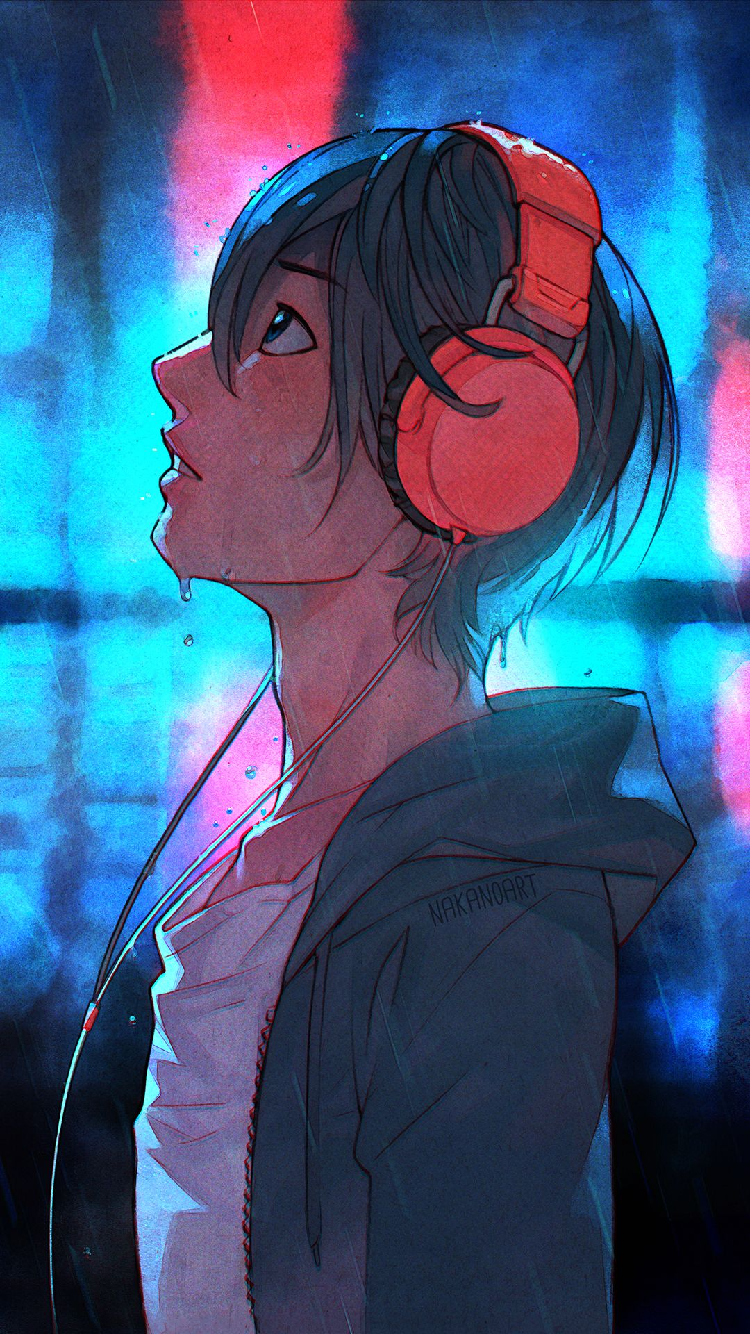 1boy O Black Hair Blush Cable Collarbone Denim Dripping Expressionless Free From Side Hair Between Eyes Headphones Art Anime Boy With Headphones Anime Music