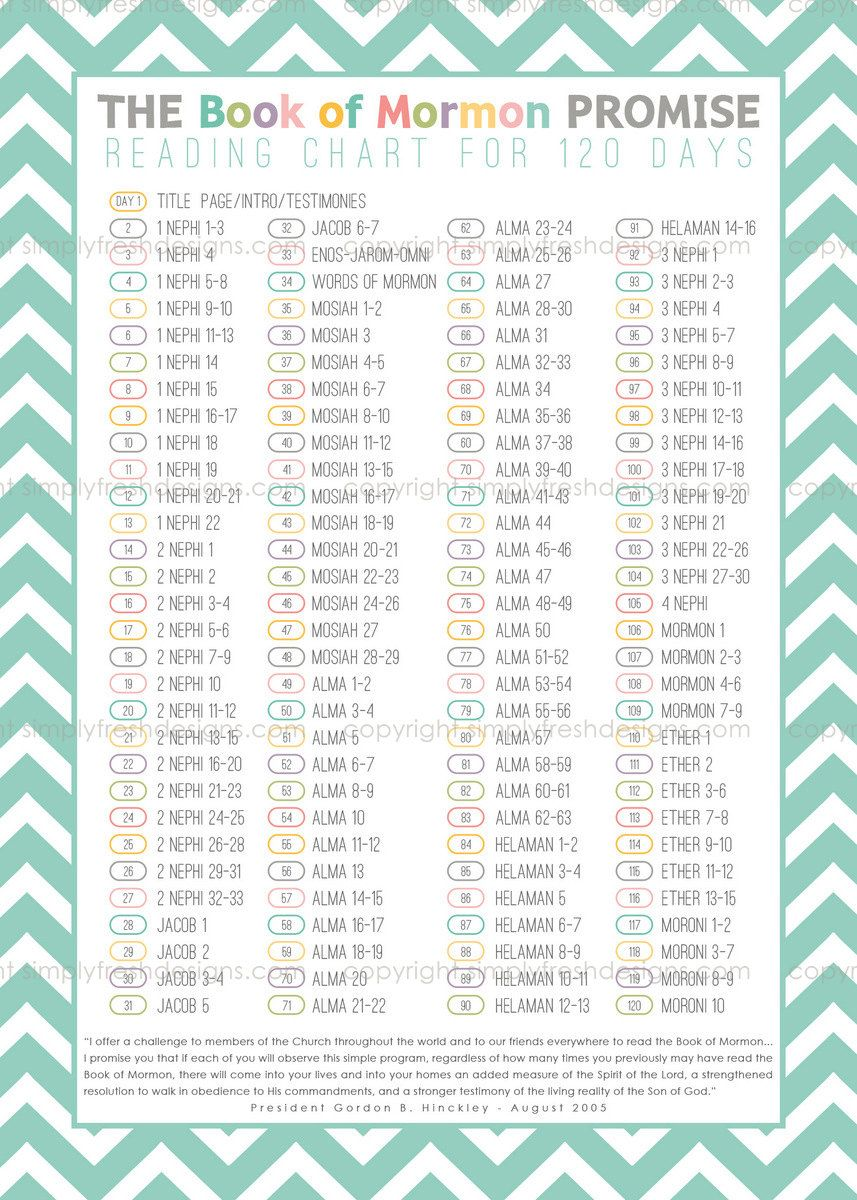 Book of mormon reading charts by date simplyfreshdesigns also instant download young rh pinterest