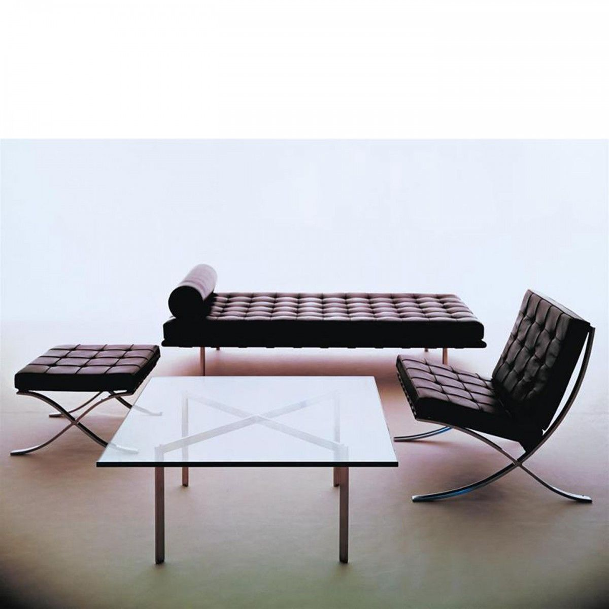Barcelona Day Bed Barcelona Table and Barcelona Chair by Ludwig