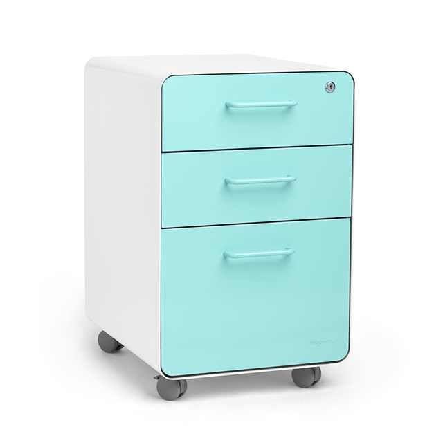 White + Aqua Stow 3 Drawer File Cabinet, Rolling, Fully Loaded,Aqua