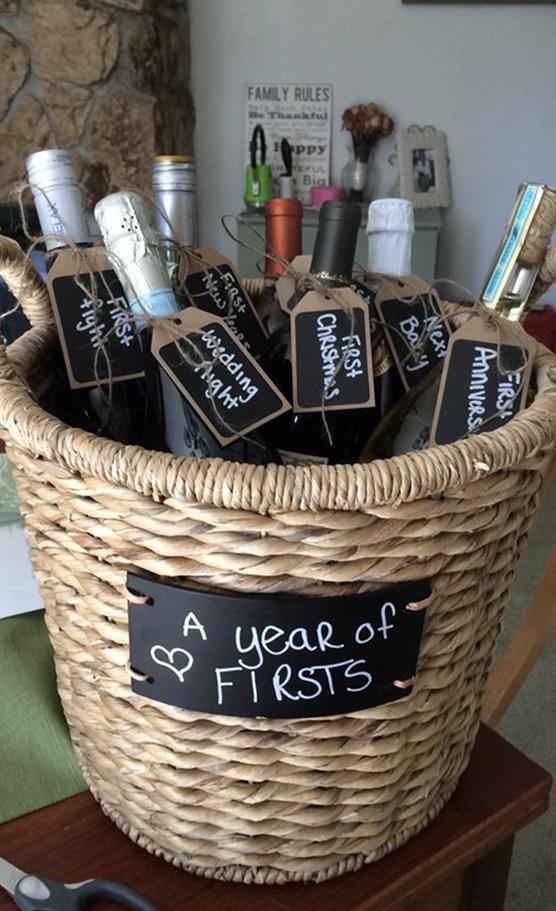 DIY Wedding Gift A Year of Firsts Wedding Gift Basket