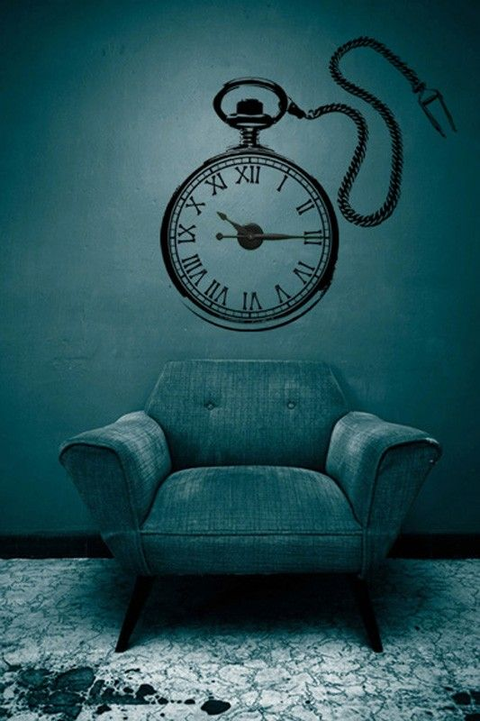 large steampunk pocket watch vinyl wall art & clock kit | vinyl wall