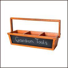 Orange Divided Wood Chalkboard Basket with Handle