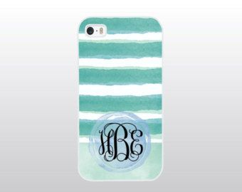 Monogrammed iPhone Case with Aqua Watercolor Stripes - Aqua Blue Striped Phone Case - iPhone 4/4S, 5/5S or 5C Case for the Beach