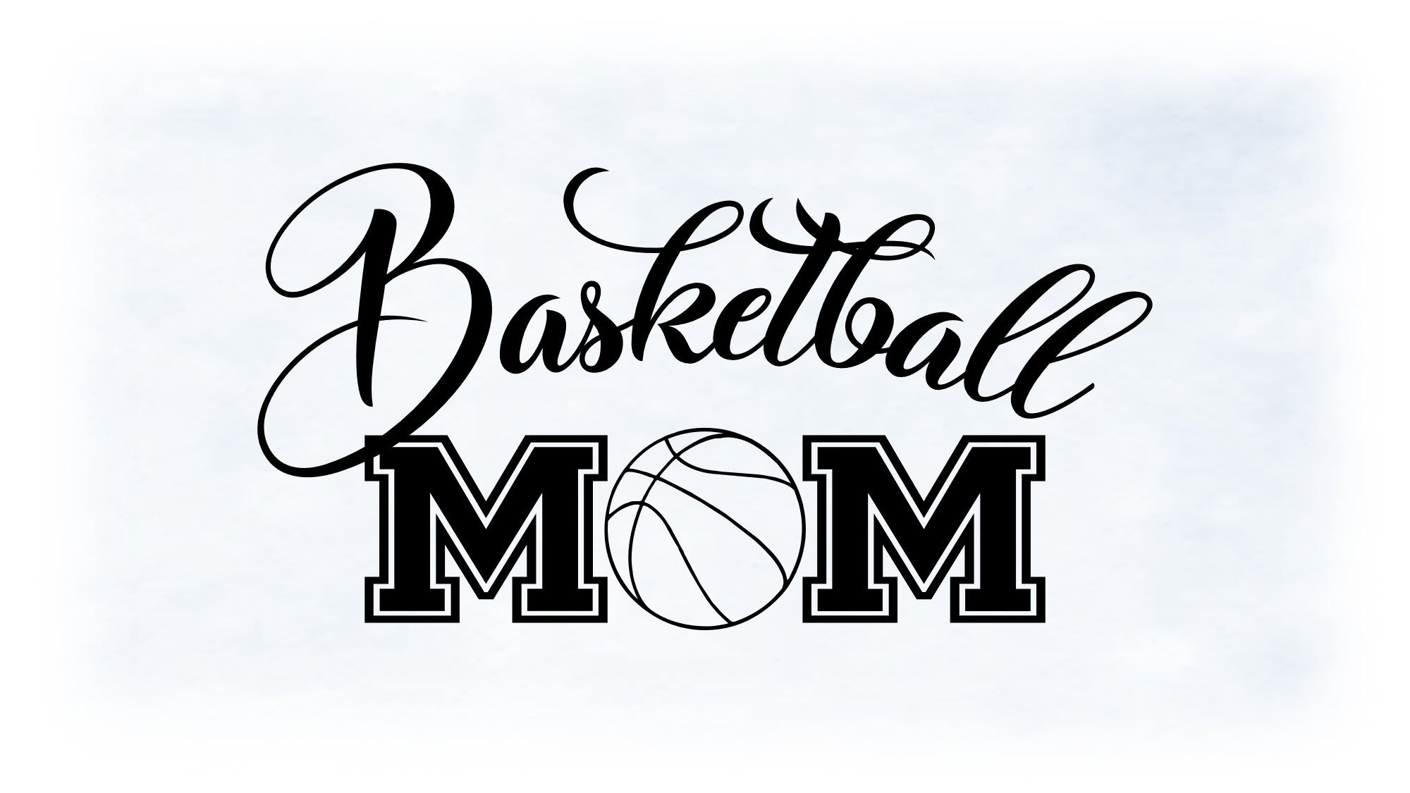 """Sports Clipart Large Black & White Word """"Basketball Mom"""