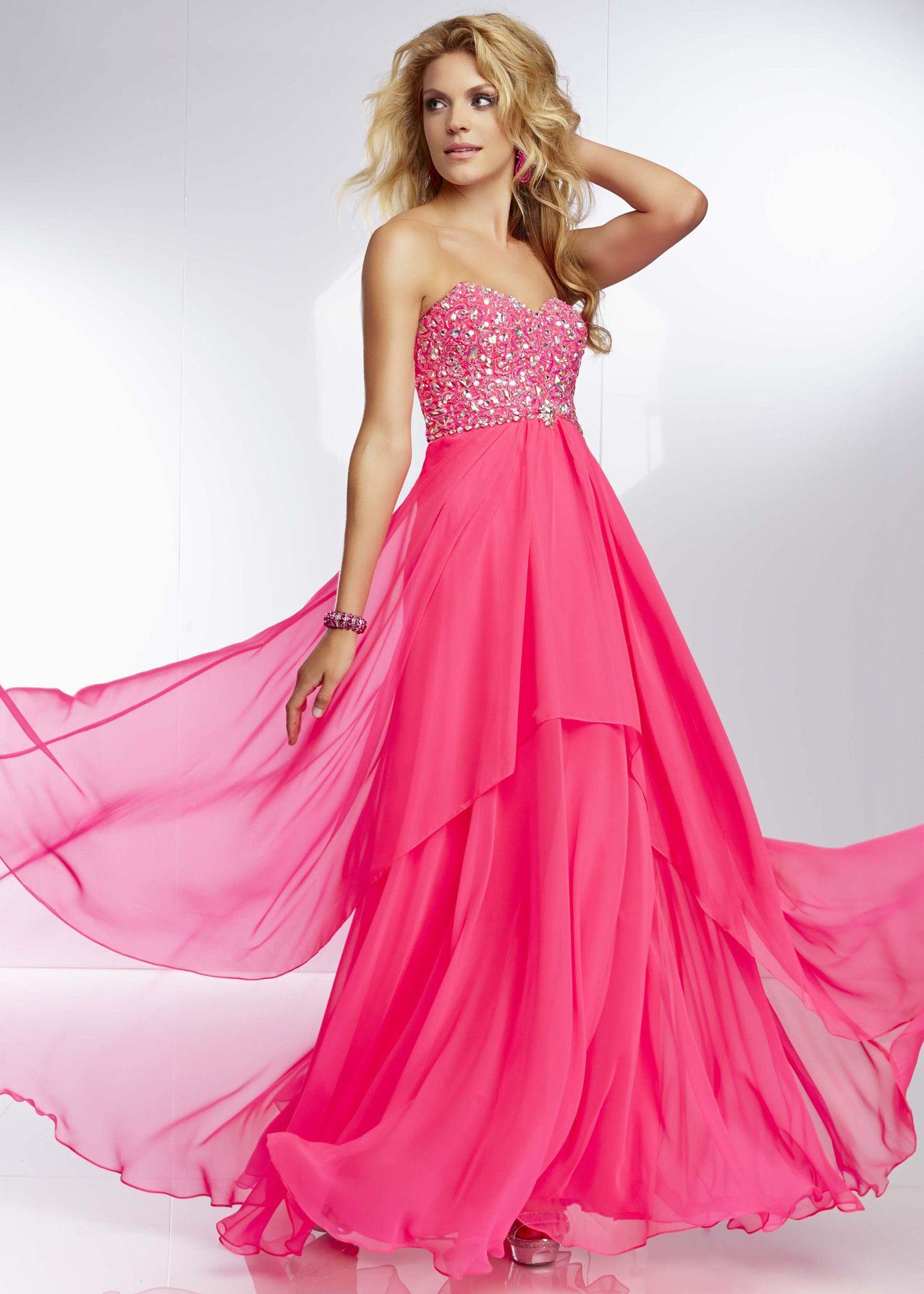 Mori Lee 95028 - Neon Pink Strapless Beaded Chiffon Prom Dresses ...