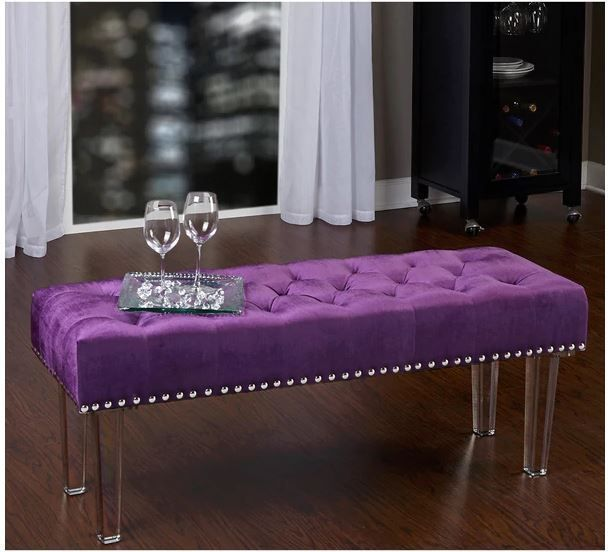 Bed Bench End Foot Velvet Ottoman Tufted Footstool Bedroom Furniture ...