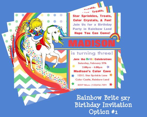 Rainbow Brite Birthday Invitation By ColtelloDesign