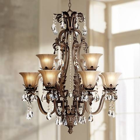 Iron Leaf Wide Bronze And Crystal Light Chandelier - Chandelier leaves crystals