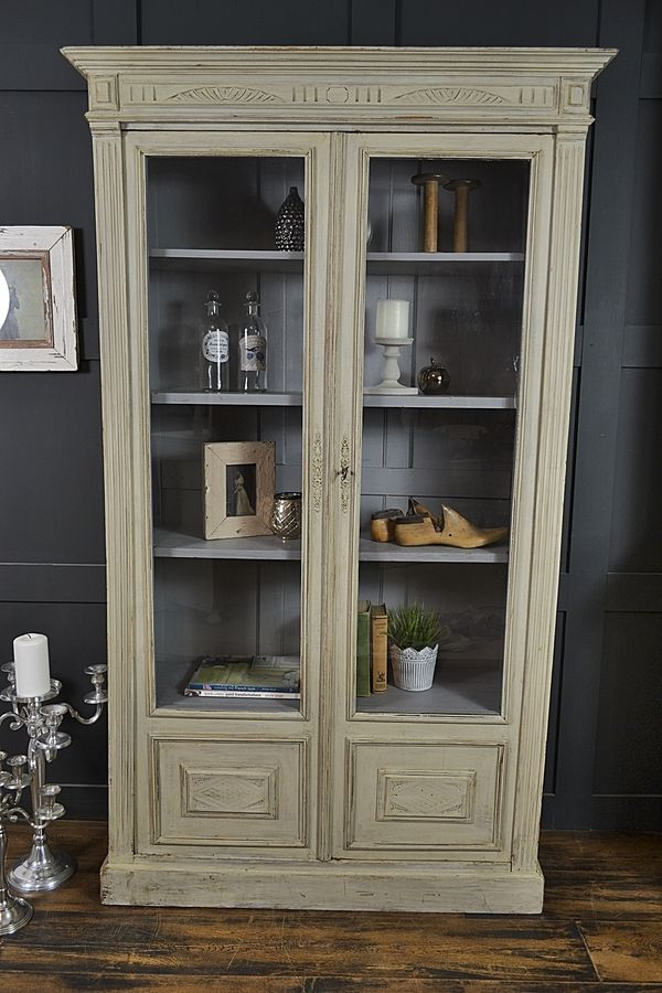 Shabby Chic French Grey Gl Display Cabinet Artwork Armoire