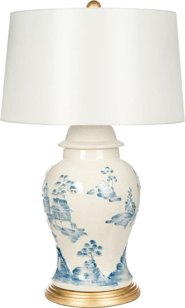 Bradburn home cream and blue asian table lamp with gold base asian table lamps chinoiserie and regency