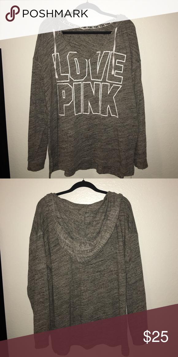 VS Pink Hoodie Sweatshirt Heathered Grey love pink beach sweatshirt. Soft, thin material. Very roomy and comfortable. PINK Victoria's Secret Tops Sweatshirts & Hoodies