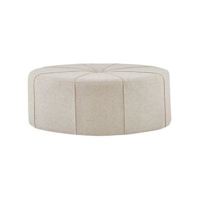 Latitude Run Telly Oval Tufted Cocktail Ottoman Color Cream