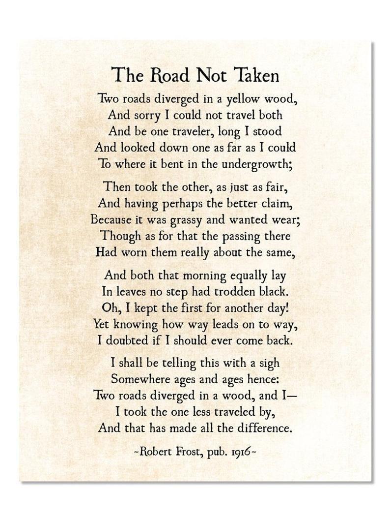 Road Not Taken Poem Robert Frost Poem Poetry Art Print | Etsy
