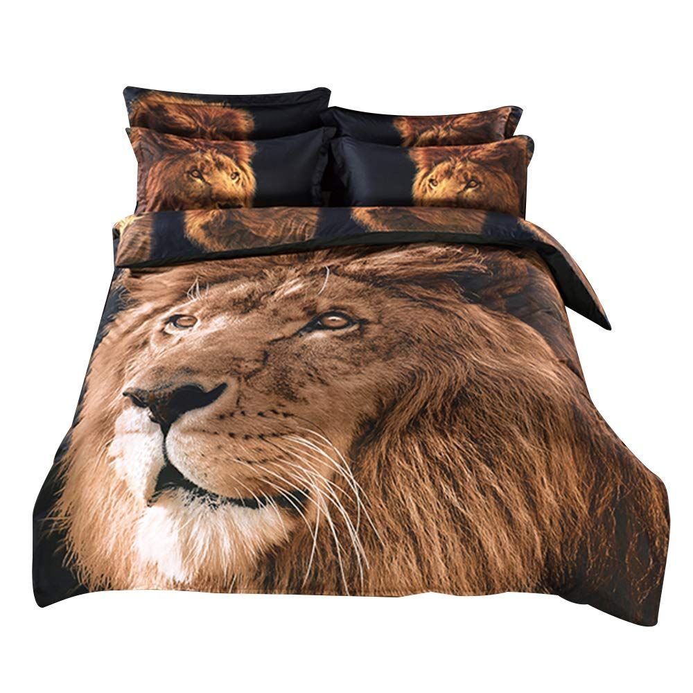 Alicemall Full 3d Lion Bedding Set With Comforter Statement Cool