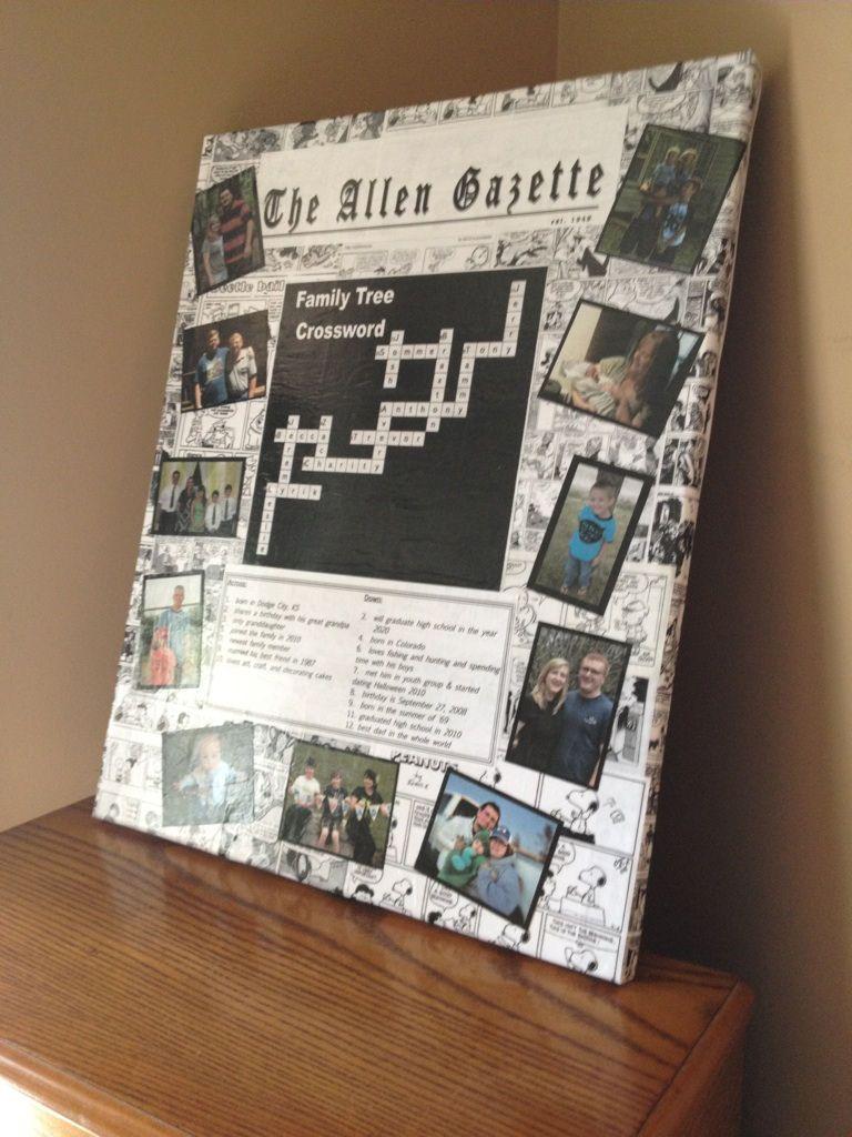 Decoupaged family tree crossword on canvas ...