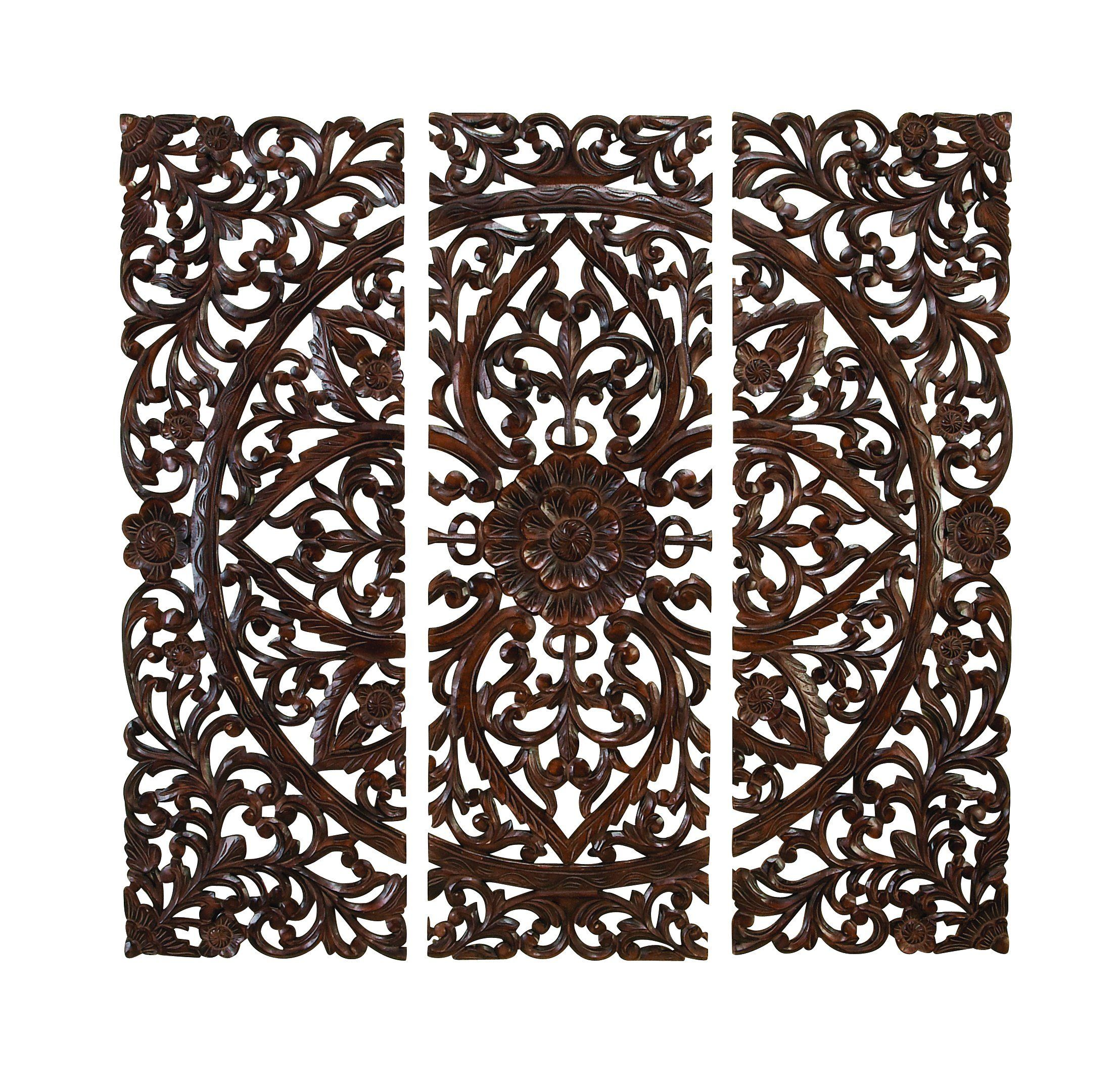 Amazoncom Elegant Wood Carved Decorative Wall Art Plaque Home &