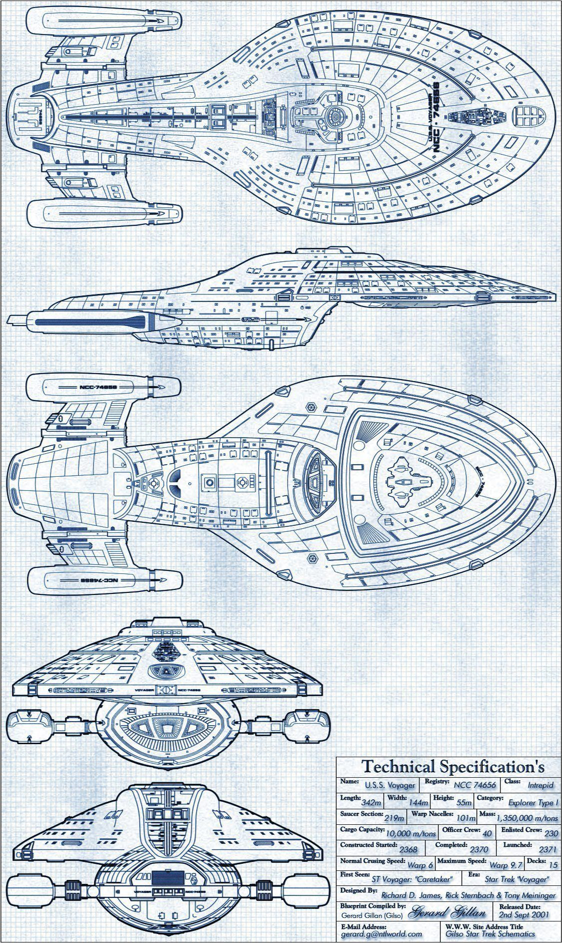 janetfraiser: Schematics for the U.S.S. Voyager (Source) | Star Trek