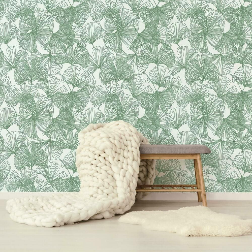 Gingko Leaves Peel And Stick Wallpaper In 2020 Room Visualizer Peel And Stick Wallpaper Roommate Decor
