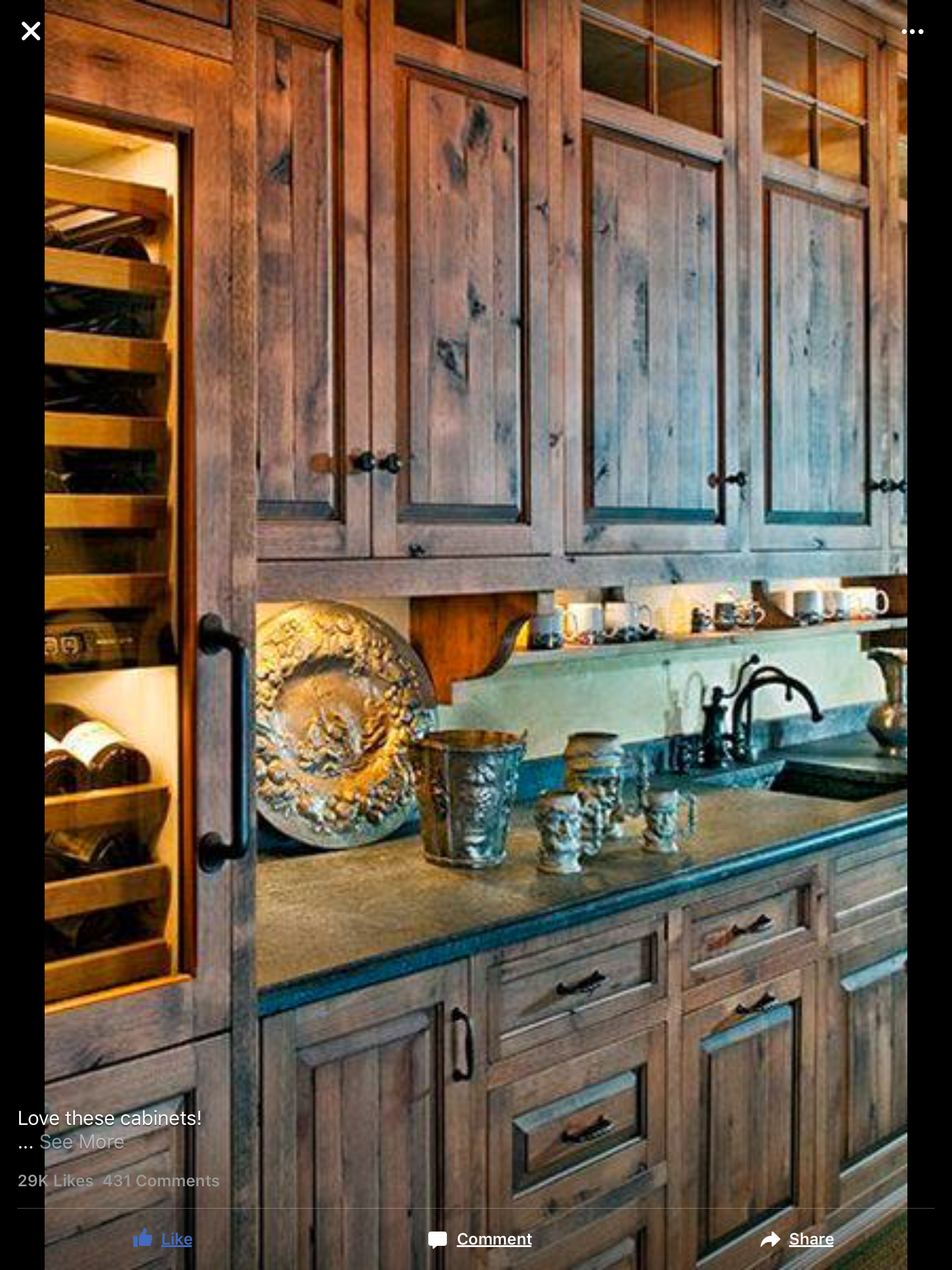Rustic Cabinets And Black Countertops Rustic Kitchen Cabinets Rustic Kitchen Farmhouse Kitchen Cabinets