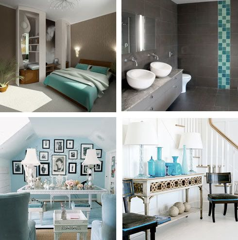 3 Aqua * Brown * White 3  Home  Pinterest  Grey Living Rooms Interesting Turquoise Living Room Design Inspiration