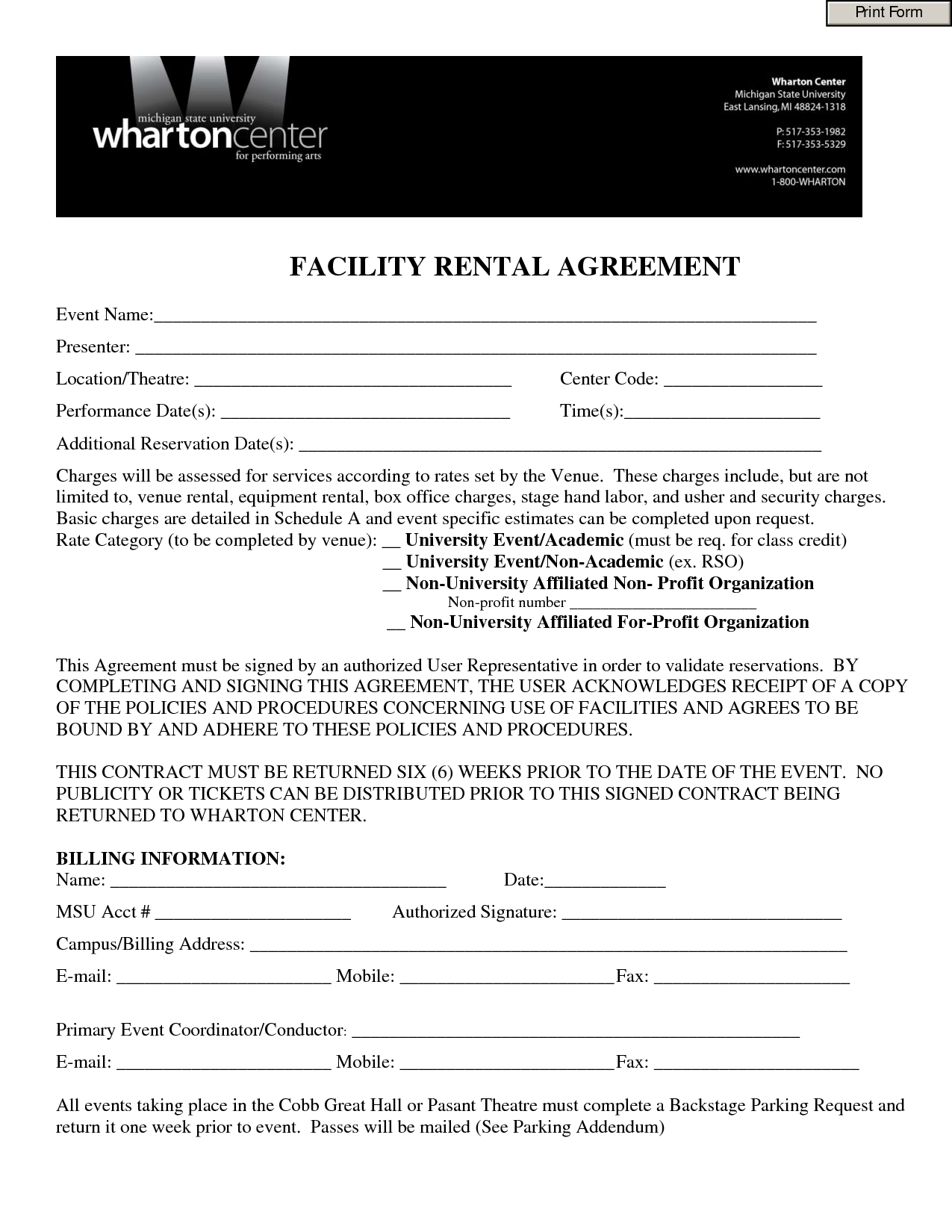 Event Contract Template - Invitation Templates - Facility Rental Agreement  Form