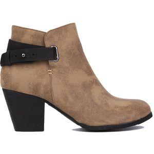 AKIRA Black Label Jennifer Contrast Buckle Heeled Ankle Boots - Tan