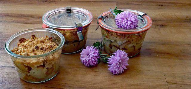 Kuchen im Glas Rezept für ApfelBirnenCrumble Kuchen