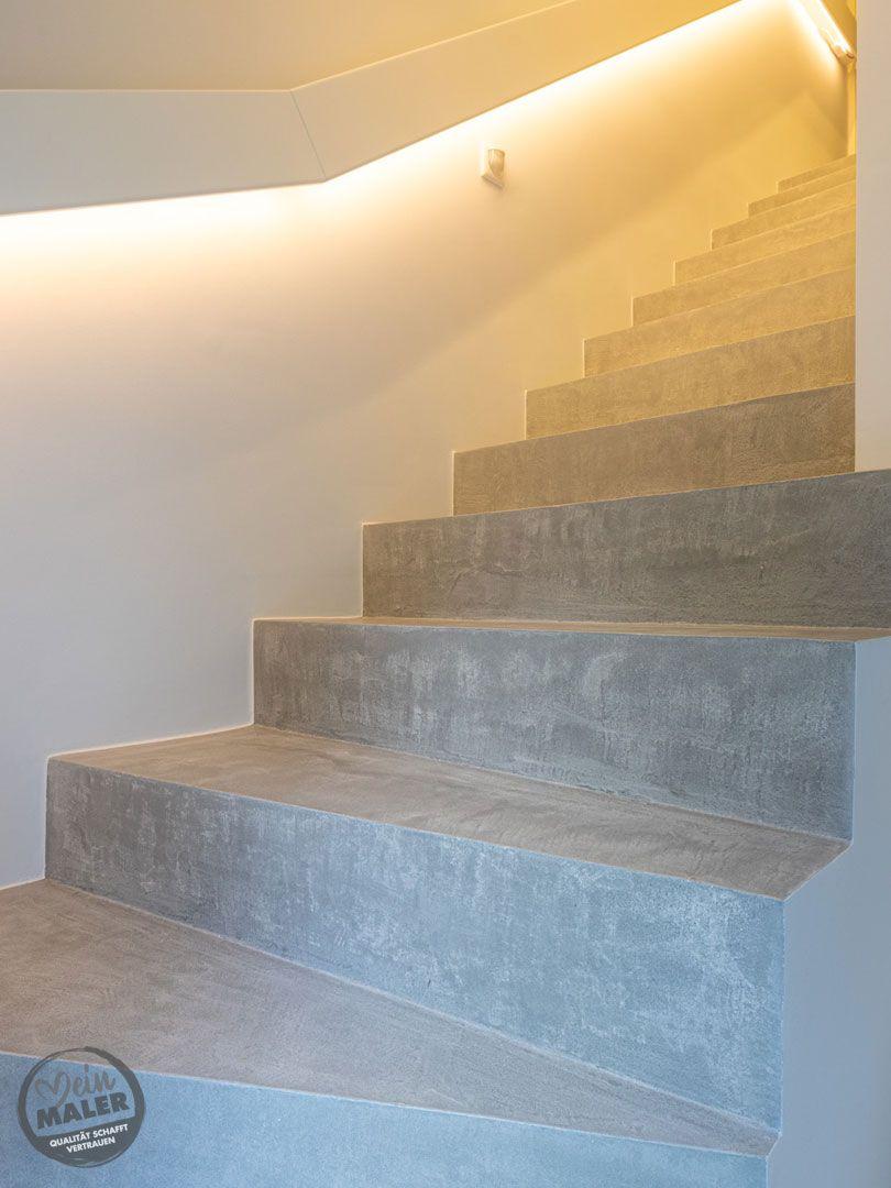 Treppe in Betonoptik fugenlos gespachtelt