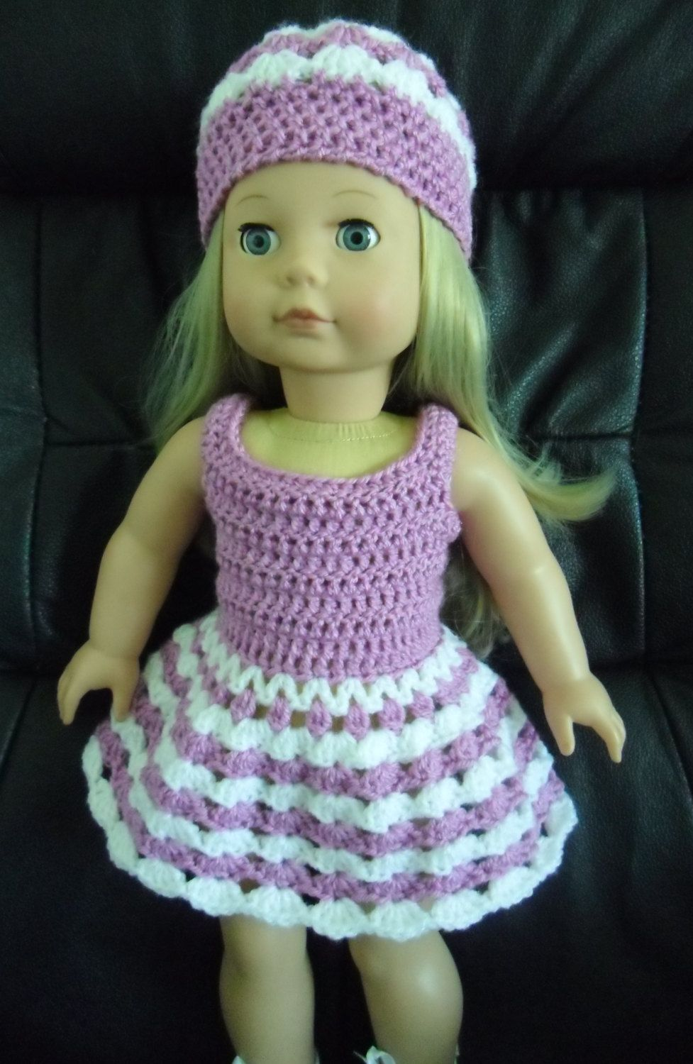 PDF Crochet pattern for 18 inch doll, Dress and hat set for American ...