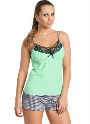 62ba96a95 Pijama Feminino com Renda Verde e Xadrez
