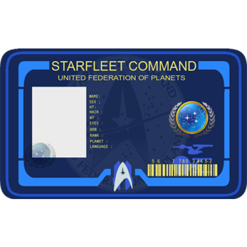 Starfleet Command Costume Id Card Cosplay From The Identity Props Store United Federation Of Planets Star Trek Id Card Template