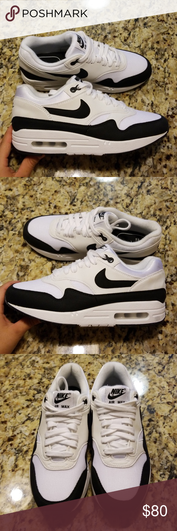 Nike Air Max 1 White Black Womens | 319986 109