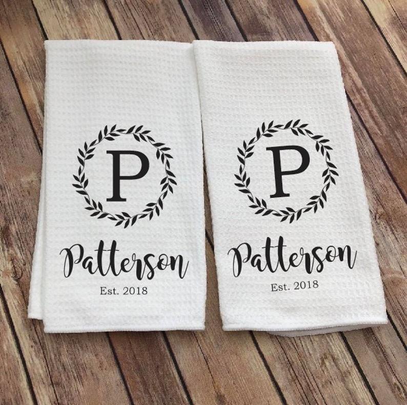 Personalized Dish Towel - Family Name Kitchen Towel - Established Year - Custom Tea Towel - Kitchen Decor - New Couple Gift - Wedding Gift #dishtowels