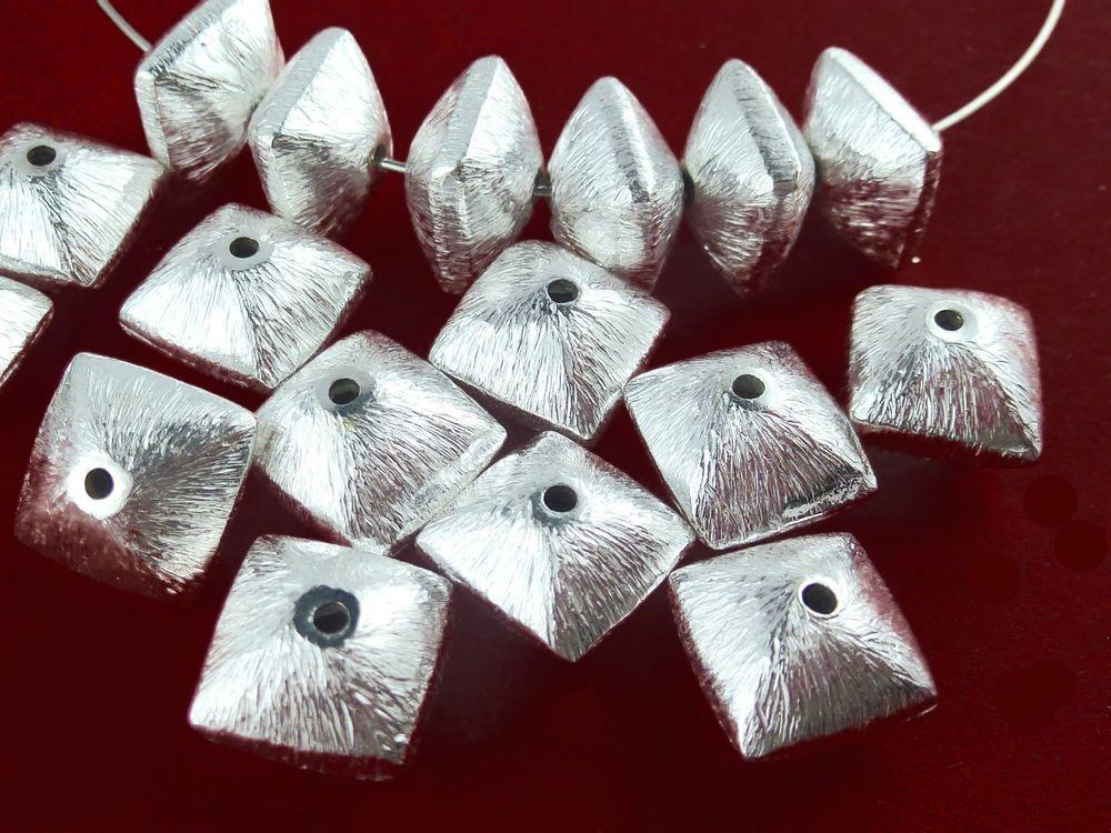 7 Metallperlen VERSILBERT NUGGETS 9x7mm gebürstet Perlen nenad-design AN044