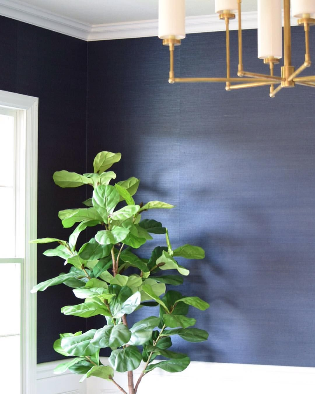 Dining Room Navy Grasscloth Wallpaper Christine Mccall Home
