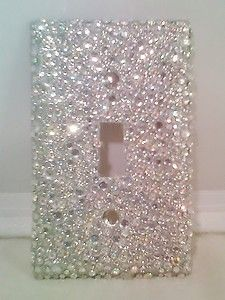 Bling Silver Glitter With Clear Ab Rhinestones Light Switch Cover