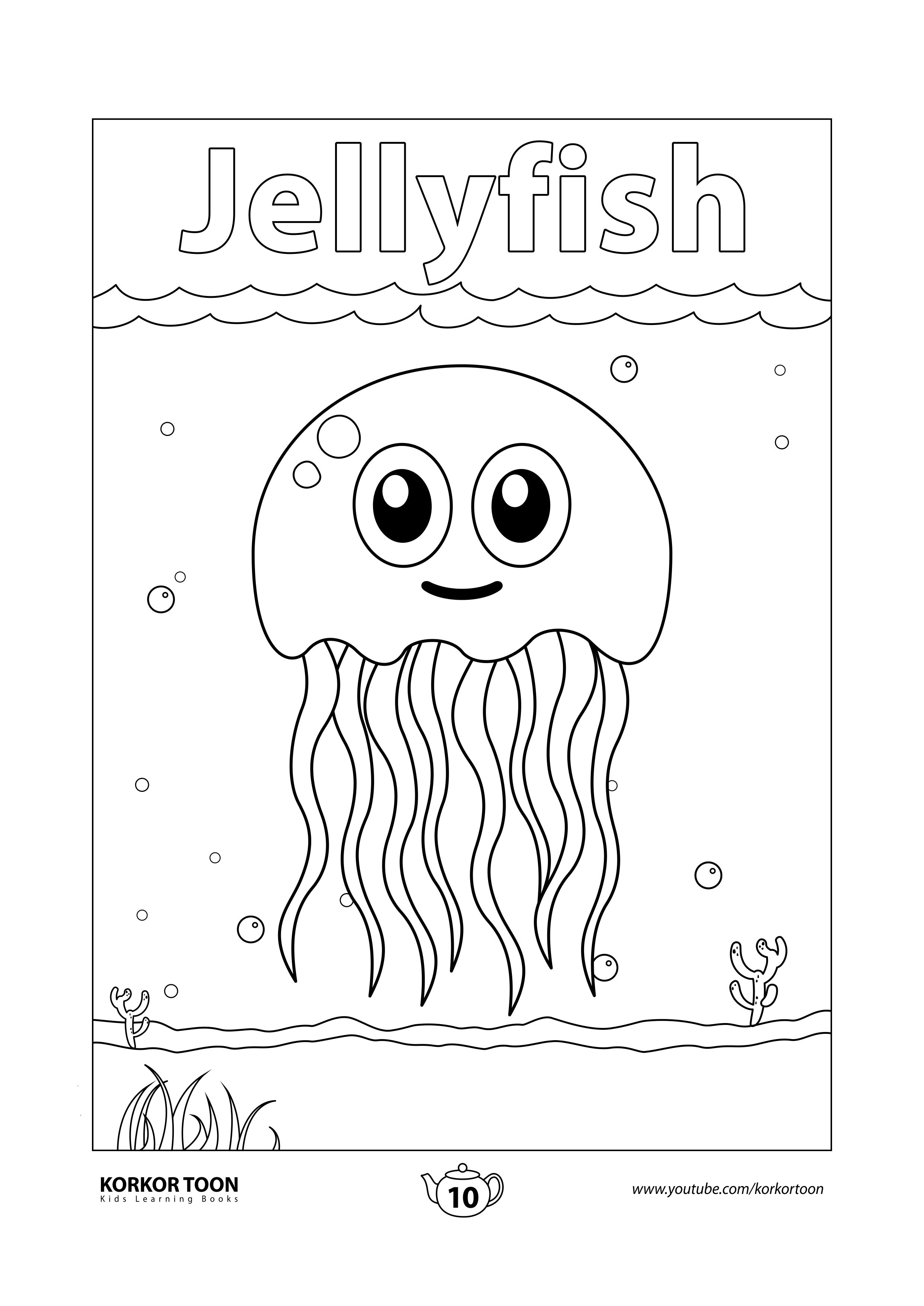 Jellyfish Coloring Page Sea Animals Coloring Book For Kids Coloring Books Animal Coloring Books Kids Coloring Books