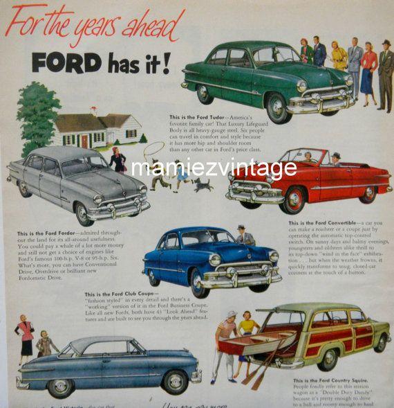 Vintage Ford Car Magazine Ad/ Vintage Car Ad/ by mamiezvintage $9.95  sc 1 st  Pinterest & Vintage Ford Car Magazine Ad/ Vintage Car Ad/ by mamiezvintage ... markmcfarlin.com