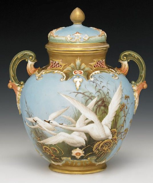 Royal Worcester vase and cover by Charles Baldwyn, circa 1900