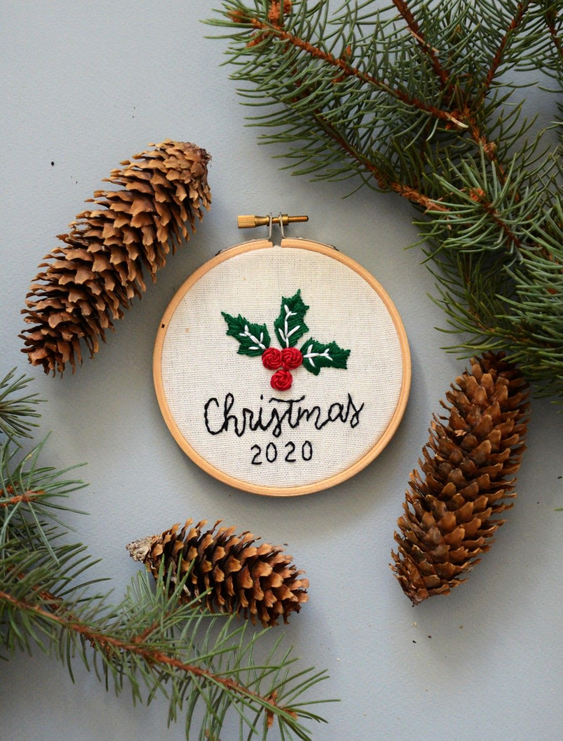 This Christmas 2020 Hand Embroidery Hoop Art will be