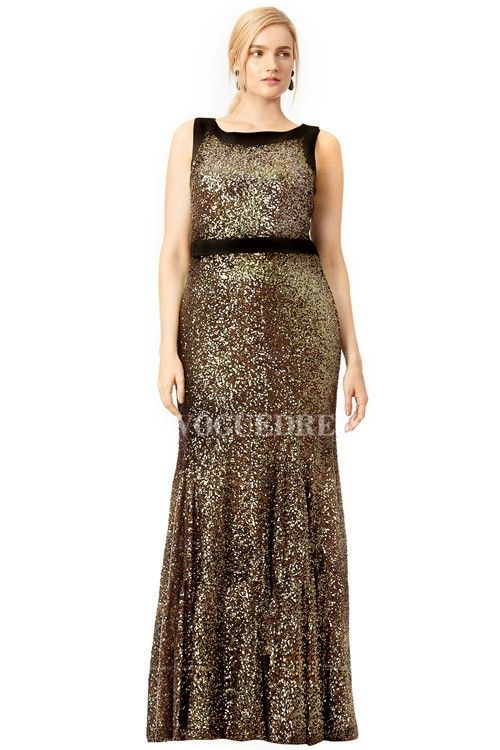 Trumpetmermaid Jewel Floor Length Sequined Plus Size Evening Dress