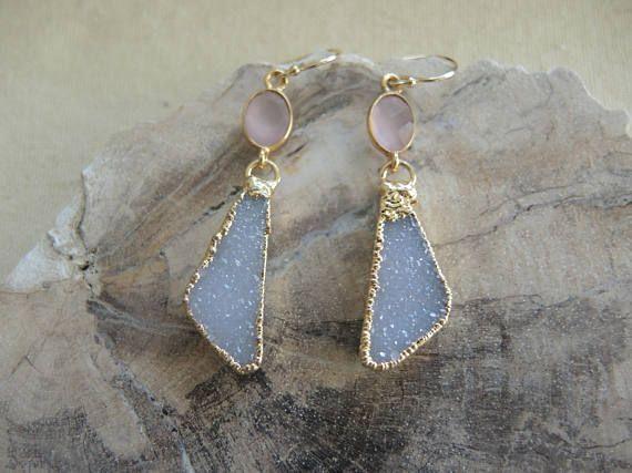 Druzy Earrings Pink Chalcedony Earrings Druzy Jewelry Rose