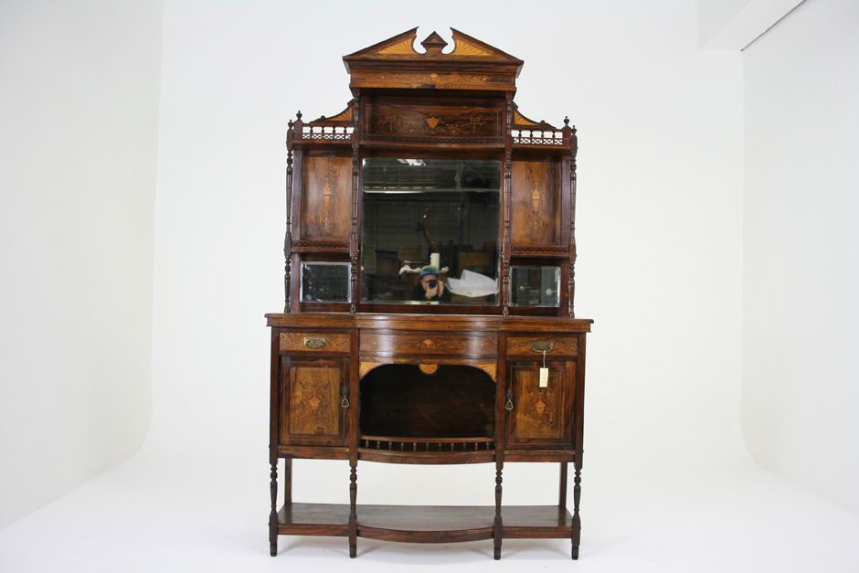 C2535 Antique Scottish Victorian Rosewood Marquetry Inlaid Display Cabinet