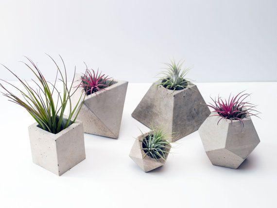 Set Of 5 Geometric Concrete Planters Ideas De Maceta Macetas De Cemento Macetas Pintadas