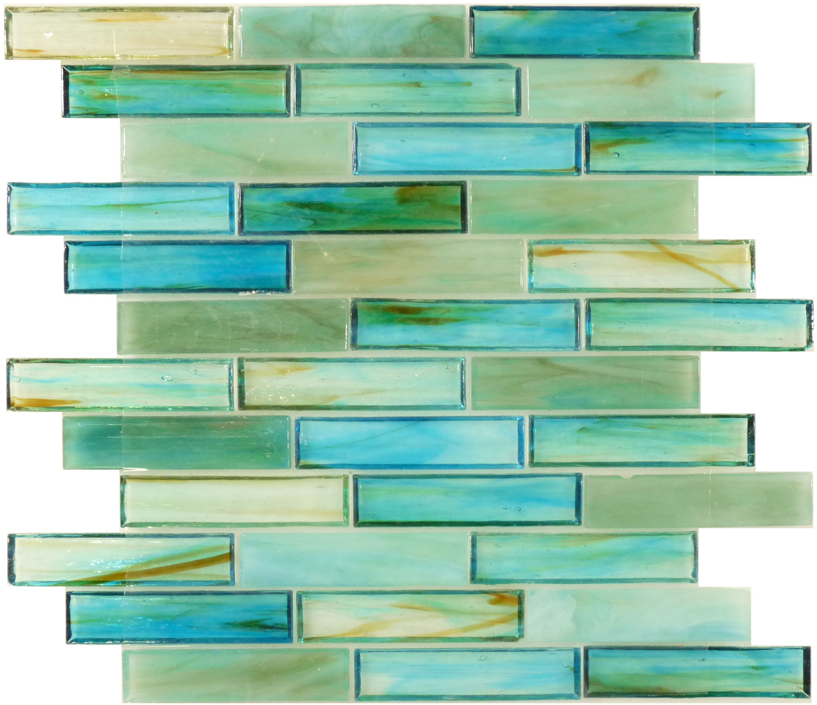 Glass stone mosaic kitchen backsplash photo marazzi pictures to pin on - Botanical Glass Sea Glass Tiles 1 X 4 Turquoise Glossy Backsplash For Kitchenglass