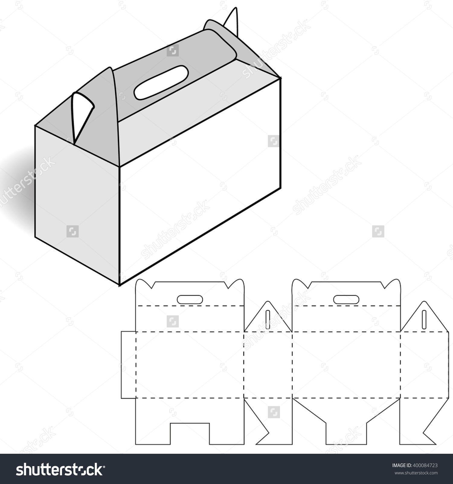cardboard box cutting box with handle ilustración vectorial en