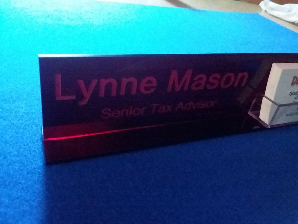 Personalized Acrylic Glass NAME PLATE BAR Desk with Business Card ...